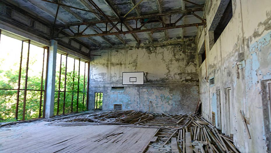 A basketball court in Pripyat