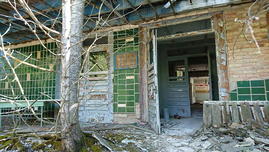 The entrance to a school in Pripyat.